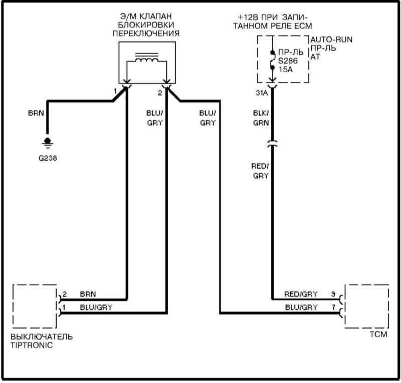 Электросхема блокировки переключений АТ