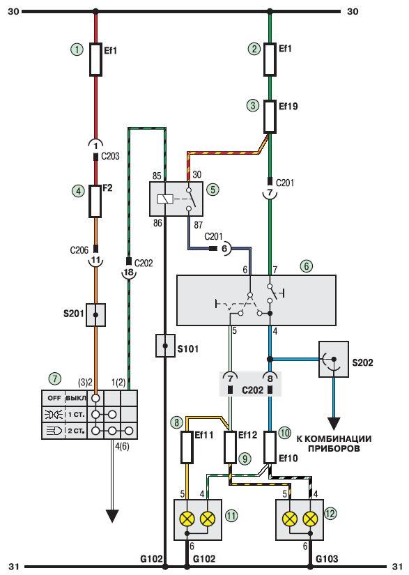 Электросхема соединения приборов освещения авто
