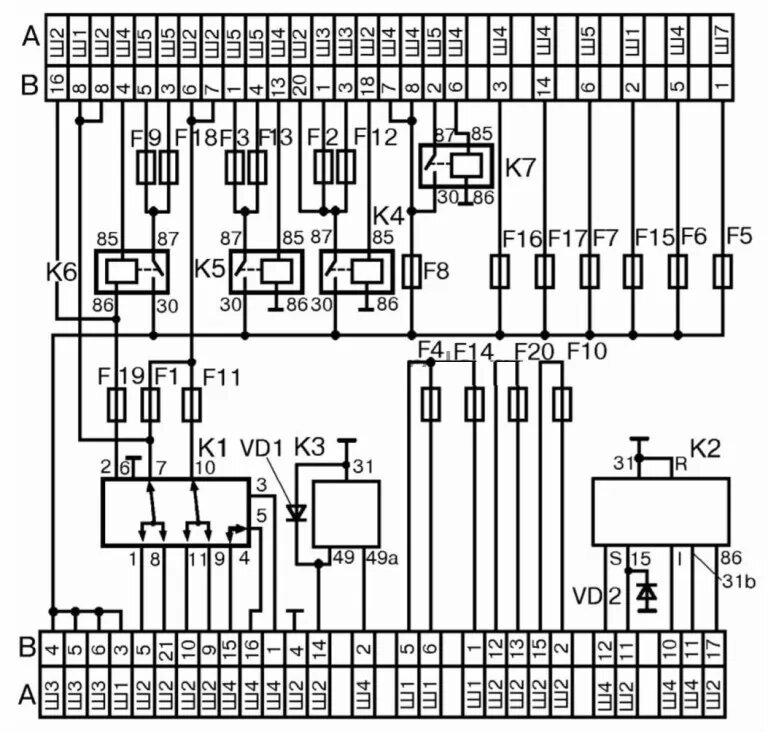 Схема 2 монтажного блока реле и предохранителей ВАЗ 2110-11-12