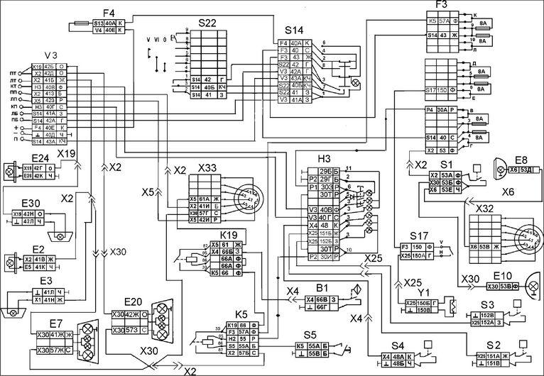 Схема наружней световой сигнализации и блокировки колес