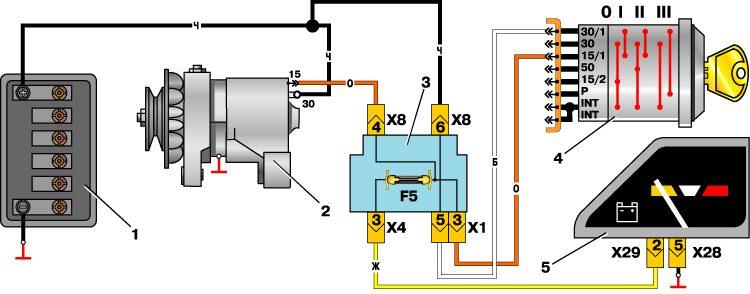 Схема соединений генератора москвича