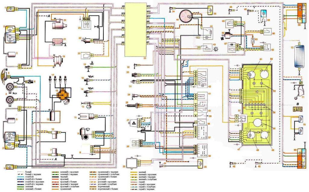 Электрическая схема автомобиля ВАЗ 2107